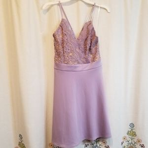 Lavender lace mini dress